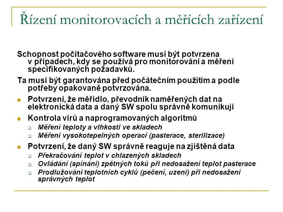Řízení monitorovacích a měřících zařízení Schopnost počítačového software musí být potvrzena v případech, kdy se používá pro monitorování a měření spe