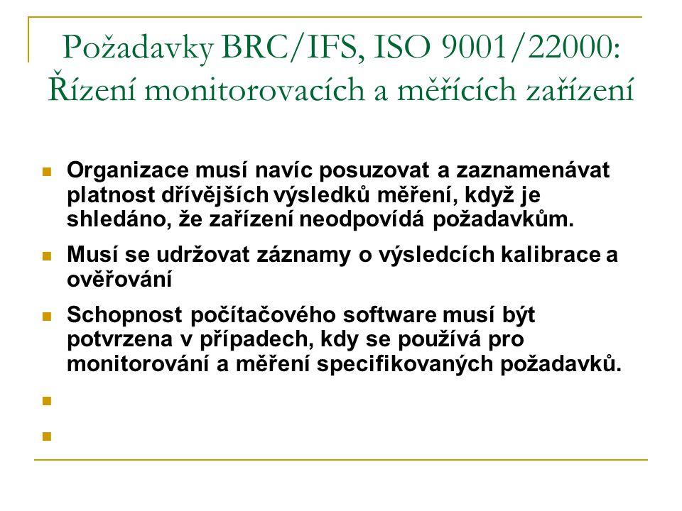 Požadavky BRC/IFS, ISO 9001/22000: Řízení monitorovacích a měřících zařízení  Organizace musí navíc posuzovat a zaznamenávat platnost dřívějších výsl