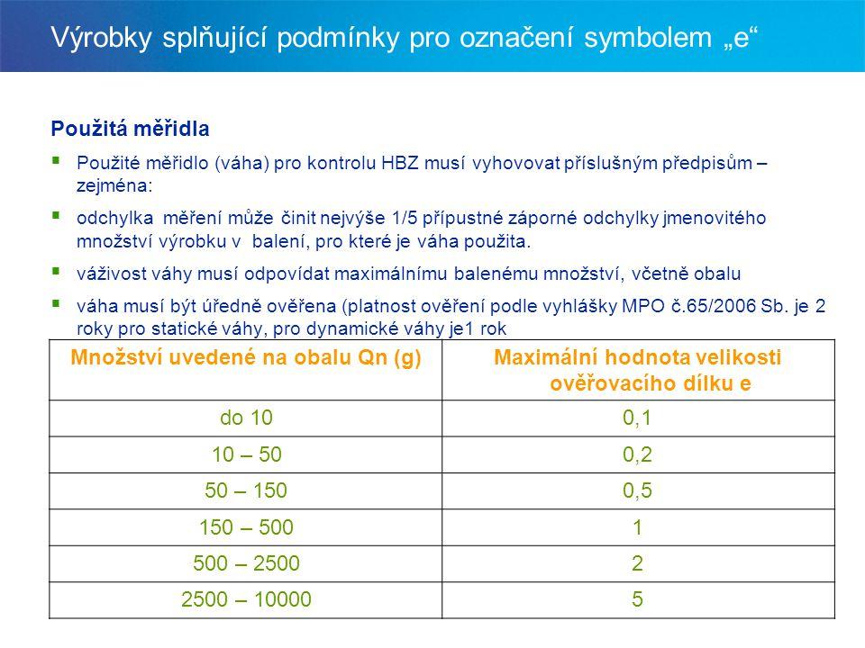"""Výrobky splňující podmínky pro označení symbolem """"e"""" Použitá měřidla  Použité měřidlo (váha) pro kontrolu HBZ musí vyhovovat příslušným předpisům – z"""
