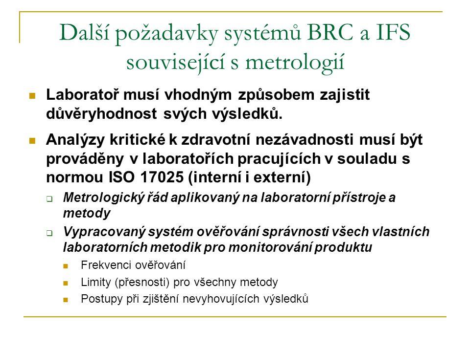 Další požadavky systémů BRC a IFS související s metrologií  Laboratoř musí vhodným způsobem zajistit důvěryhodnost svých výsledků.  Analýzy kritické