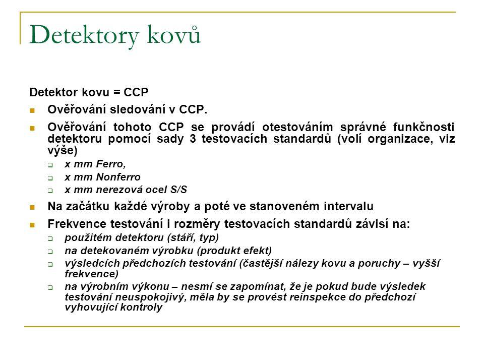 Detektory kovů Detektor kovu = CCP  Ověřování sledování v CCP.  Ověřování tohoto CCP se provádí otestováním správné funkčnosti detektoru pomocí sady