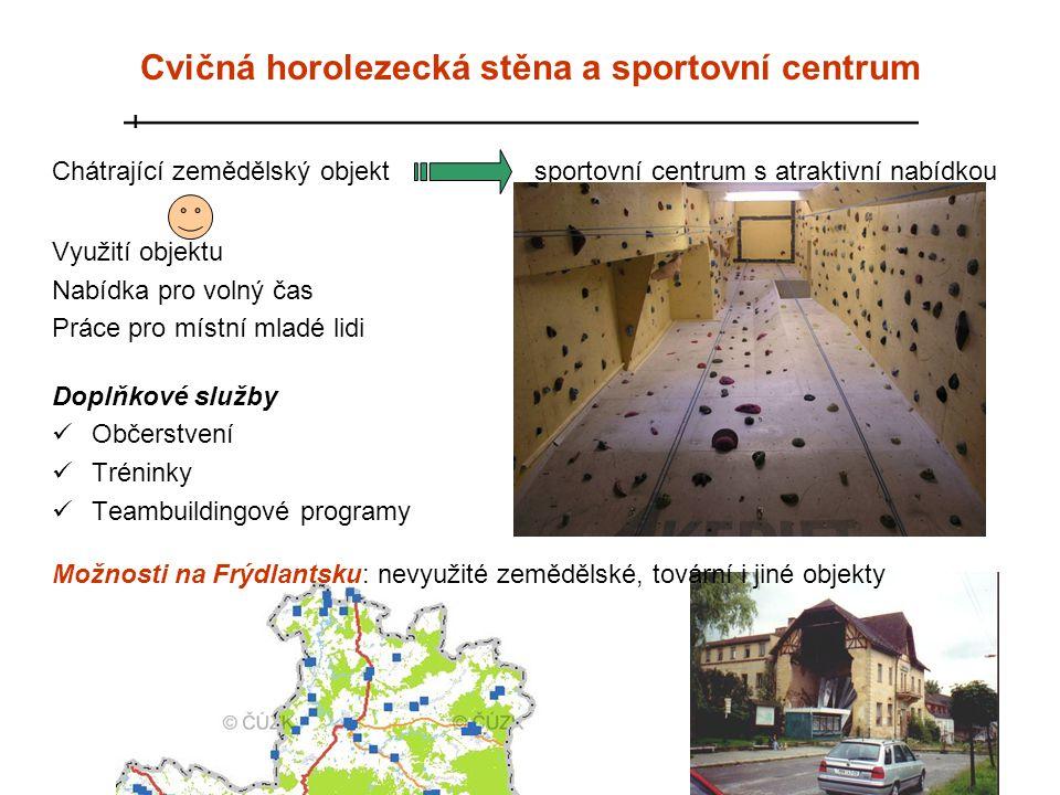 Chátrající zemědělský objekt sportovní centrum s atraktivní nabídkou Využití objektu Nabídka pro volný čas Práce pro místní mladé lidi Doplňkové služb