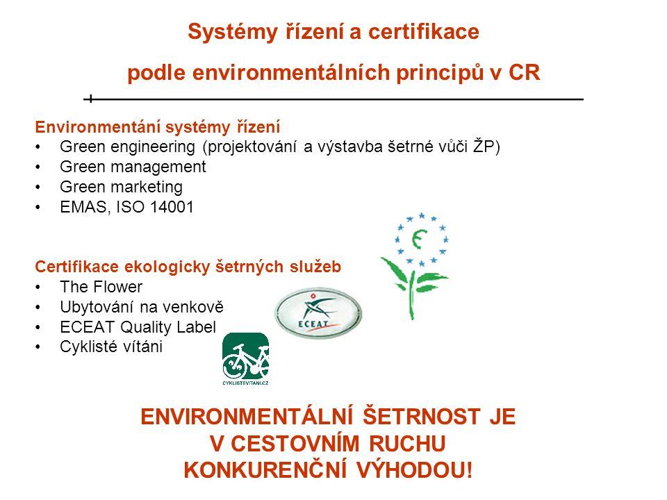 Systémy řízení a certifikace podle environmentálních principů v CR Environmentání systémy řízení •Green engineering (projektování a výstavba šetrné vů