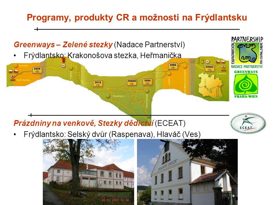 Greenways – Zelené stezky (Nadace Partnerství) •Frýdlantsko: Krakonošova stezka, Heřmanička Prázdniny na venkově, Stezky dědictví (ECEAT) •Frýdlantsko