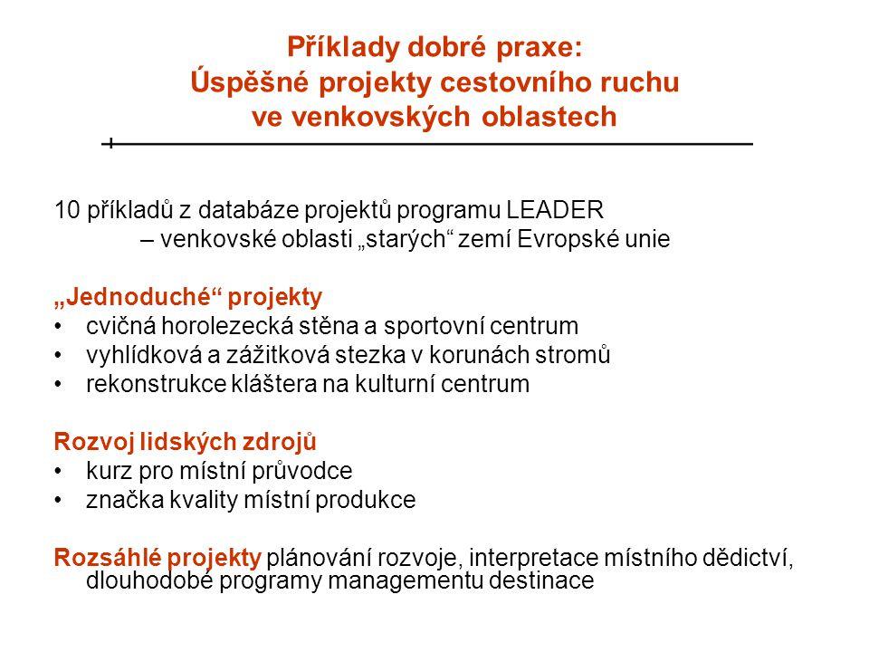 """Příklady dobré praxe: Úspěšné projekty cestovního ruchu ve venkovských oblastech 10 příkladů z databáze projektů programu LEADER – venkovské oblasti """""""
