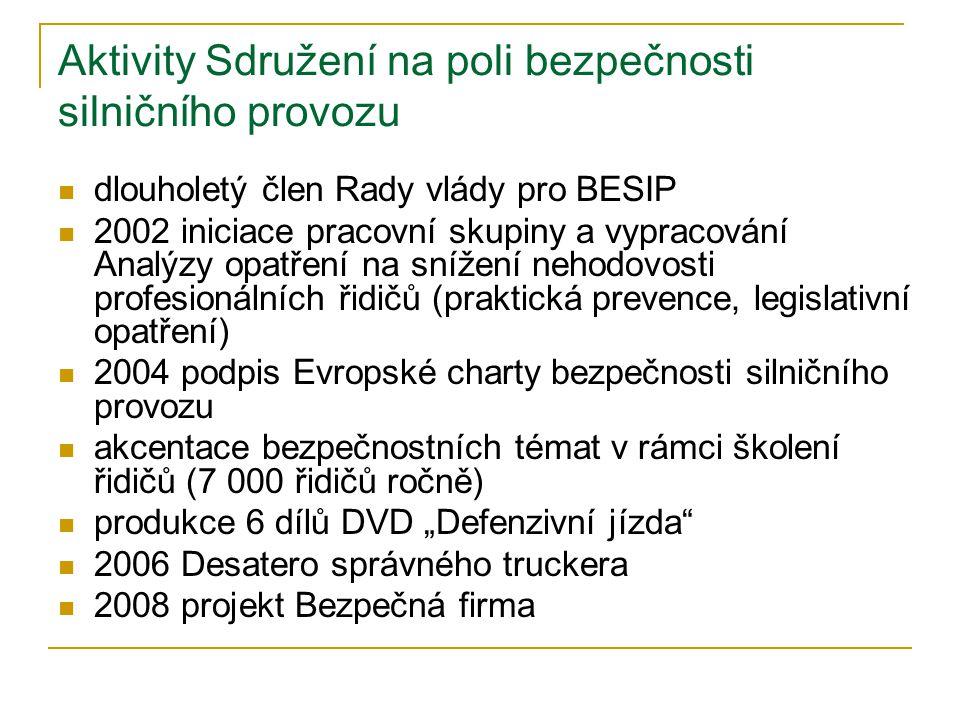 """Aktivity Sdružení na poli bezpečnosti silničního provozu  dlouholetý člen Rady vlády pro BESIP  2002 iniciace pracovní skupiny a vypracování Analýzy opatření na snížení nehodovosti profesionálních řidičů (praktická prevence, legislativní opatření)  2004 podpis Evropské charty bezpečnosti silničního provozu  akcentace bezpečnostních témat v rámci školení řidičů (7 000 řidičů ročně)  produkce 6 dílů DVD """"Defenzivní jízda  2006 Desatero správného truckera  2008 projekt Bezpečná firma"""