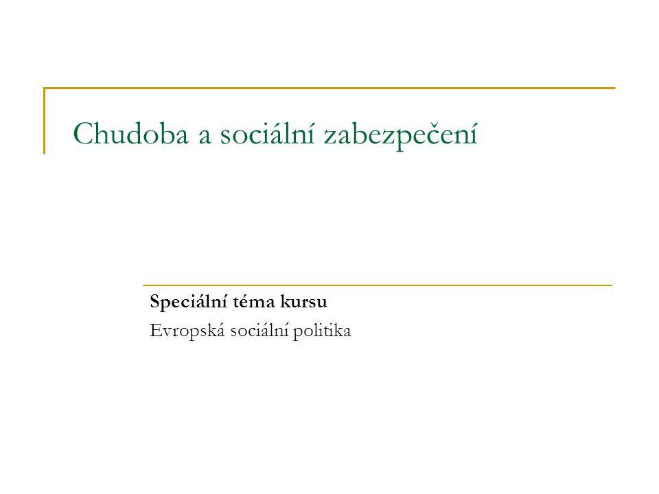 Chudoba a sociální zabezpečení 22 Snižování chudoby sociálními transfery – srovnání v EU 15 Zdroj: Společná zpráva o sociálním vyloučení (2004)