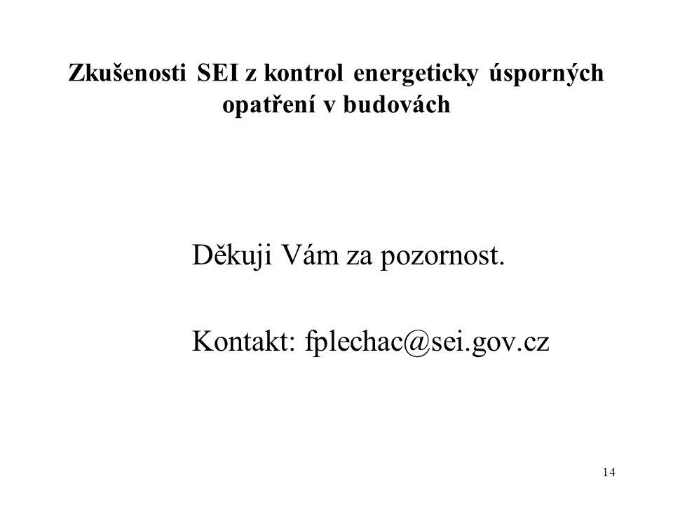 14 Zkušenosti SEI z kontrol energeticky úsporných opatření v budovách Děkuji Vám za pozornost. Kontakt: fplechac@sei.gov.cz