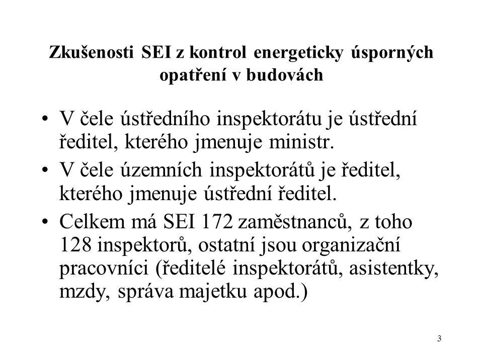 3 Zkušenosti SEI z kontrol energeticky úsporných opatření v budovách •V čele ústředního inspektorátu je ústřední ředitel, kterého jmenuje ministr. •V