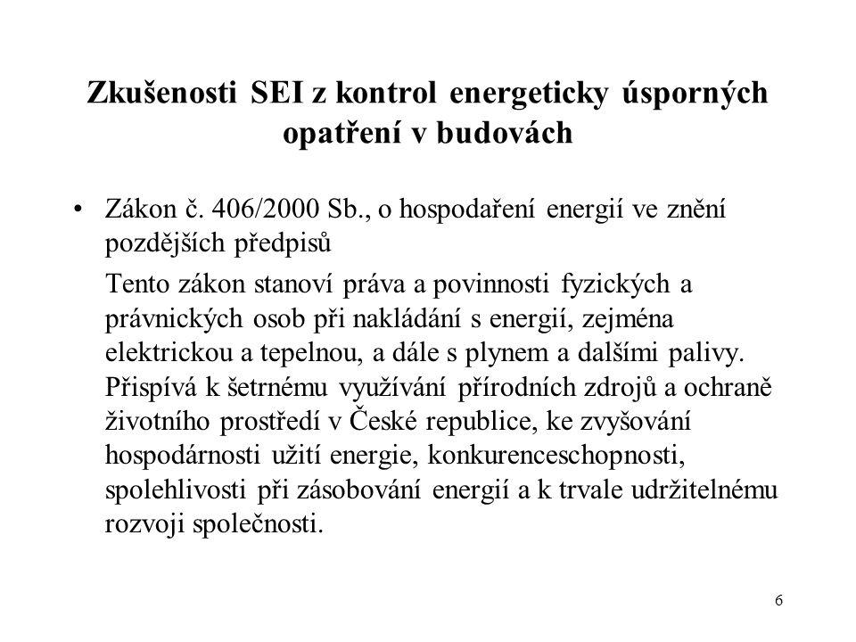 6 Zkušenosti SEI z kontrol energeticky úsporných opatření v budovách •Zákon č. 406/2000 Sb., o hospodaření energií ve znění pozdějších předpisů Tento