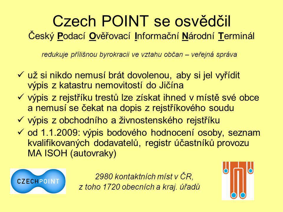 Czech POINT se osvědčil Český Podací Ověřovací Informační Národní Terminál redukuje přílišnou byrokracii ve vztahu občan – veřejná správa  už si nikd