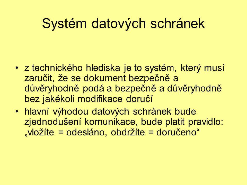 Systém datových schránek •z technického hlediska je to systém, který musí zaručit, že se dokument bezpečně a důvěryhodně podá a bezpečně a důvěryhodně