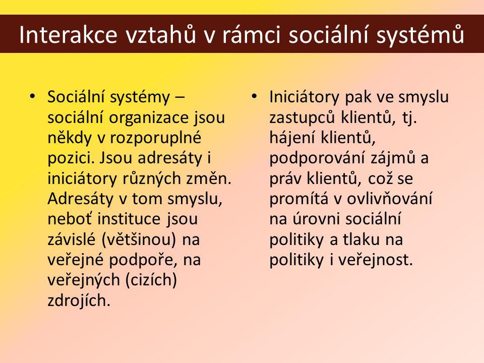 Interakce vztahů v rámci sociální systémů • Sociální systémy – sociální organizace jsou někdy v rozporuplné pozici.