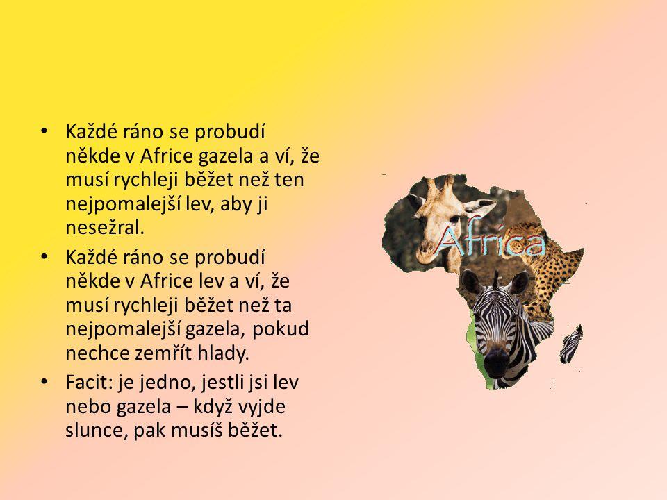 • Každé ráno se probudí někde v Africe gazela a ví, že musí rychleji běžet než ten nejpomalejší lev, aby ji nesežral.