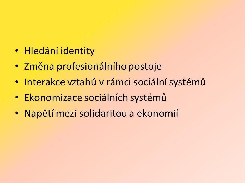 • Hledání identity • Změna profesionálního postoje • Interakce vztahů v rámci sociální systémů • Ekonomizace sociálních systémů • Napětí mezi solidaritou a ekonomií