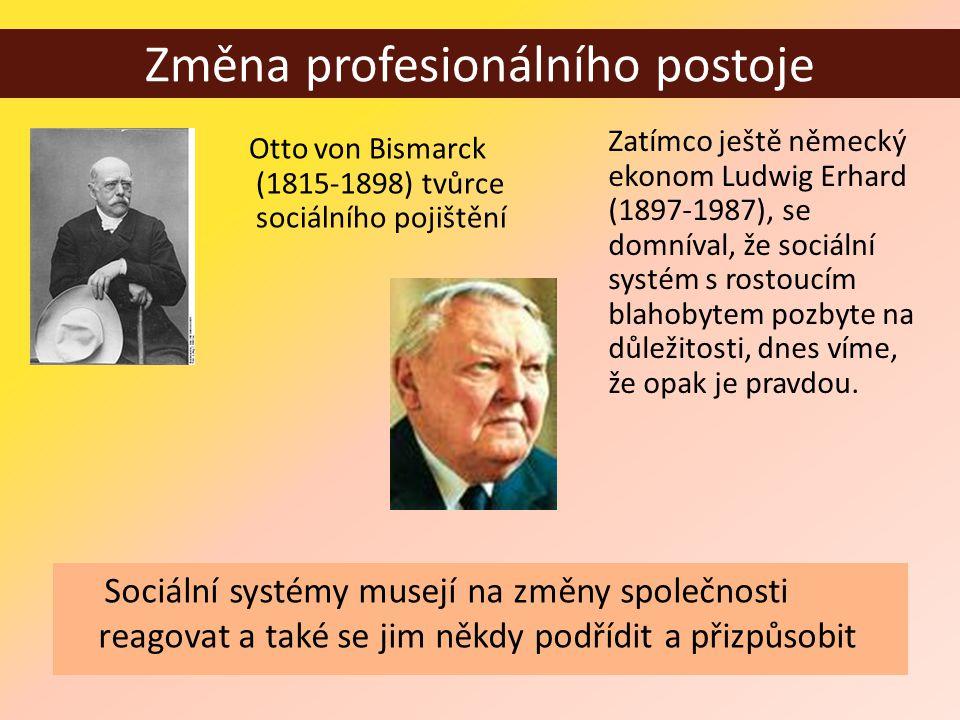 Změna profesionálního postoje Otto von Bismarck (1815-1898) tvůrce sociálního pojištění Zatímco ještě německý ekonom Ludwig Erhard (1897-1987), se domníval, že sociální systém s rostoucím blahobytem pozbyte na důležitosti, dnes víme, že opak je pravdou.