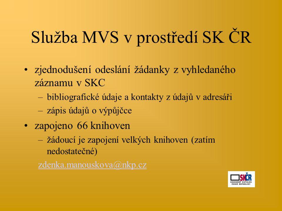 Služba MVS v prostředí SK ČR •zjednodušení odeslání žádanky z vyhledaného záznamu v SKC –bibliografické údaje a kontakty z údajů v adresáři –zápis úda