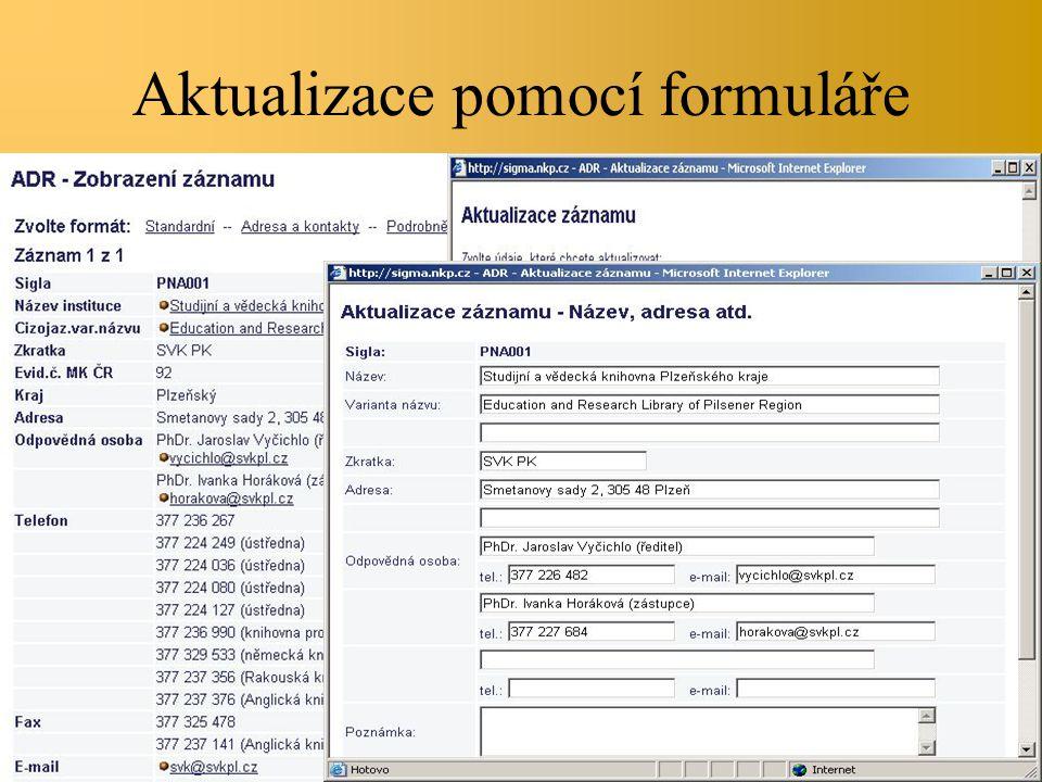 Aktualizace pomocí formuláře