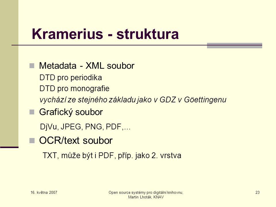16. května 2007 Open source systémy pro digitální knihovnu, Martin Lhoták, KNAV 23 Kramerius - struktura  Metadata - XML soubor DTD pro periodika DTD
