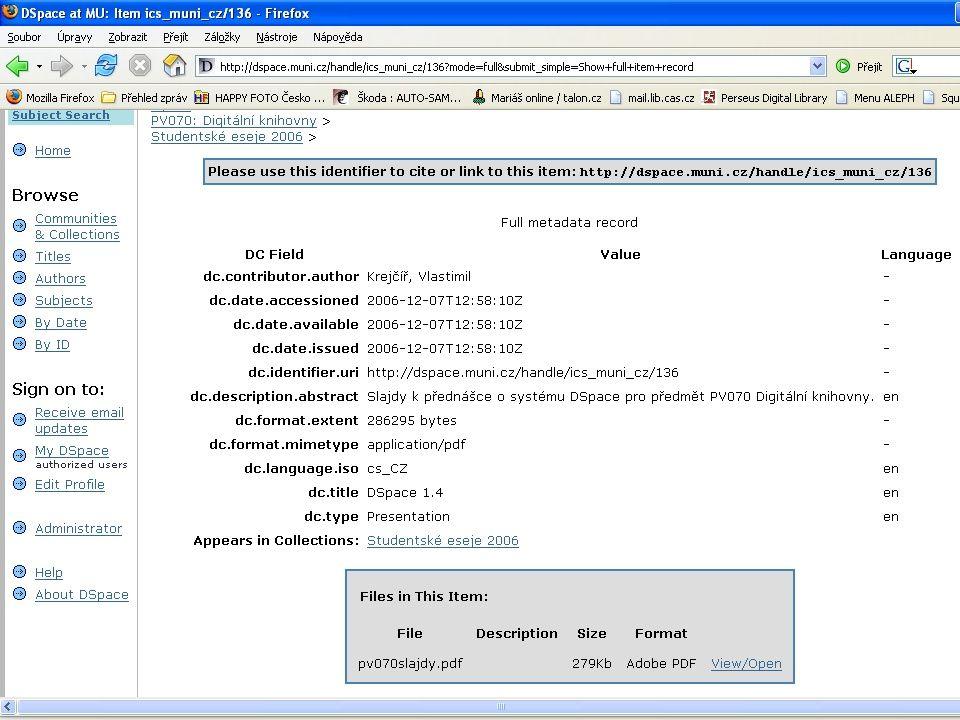 16. května 2007 Open source systémy pro digitální knihovnu, Martin Lhoták, KNAV 8