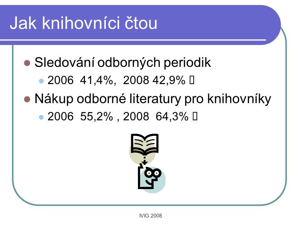 IVIG 2008 Jak knihovníci čtou  Sledování odborných periodik  2006 41,4%, 2008 42,9%   Nákup odborné literatury pro knihovníky  2006 55,2%, 2008 64,3% 