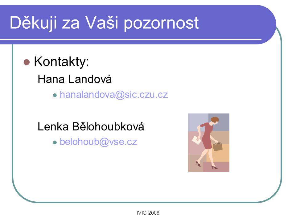 IVIG 2008 Děkuji za Vaši pozornost  Kontakty: Hana Landová  hanalandova@sic.czu.cz Lenka Bělohoubková  belohoub@vse.cz