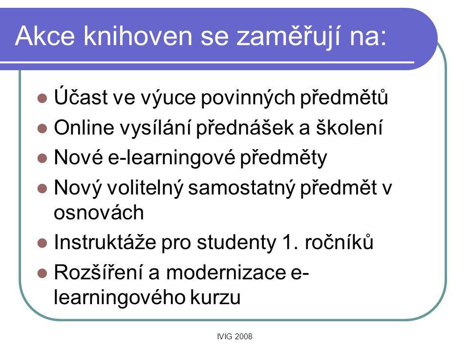 IVIG 2008 Akce knihoven se zaměřují na:  Účast ve výuce povinných předmětů  Online vysílání přednášek a školení  Nové e-learningové předměty  Nový volitelný samostatný předmět v osnovách  Instruktáže pro studenty 1.