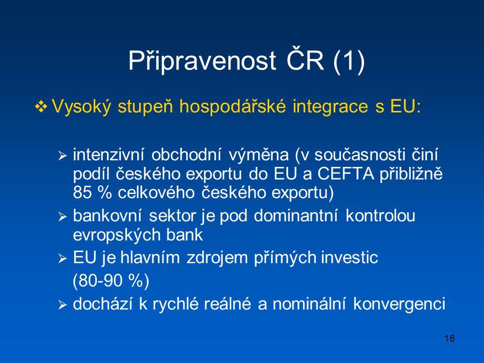 16 Připravenost ČR (1)  Vysoký stupeň hospodářské integrace s EU:  intenzivní obchodní výměna (v současnosti činí podíl českého exportu do EU a CEFT