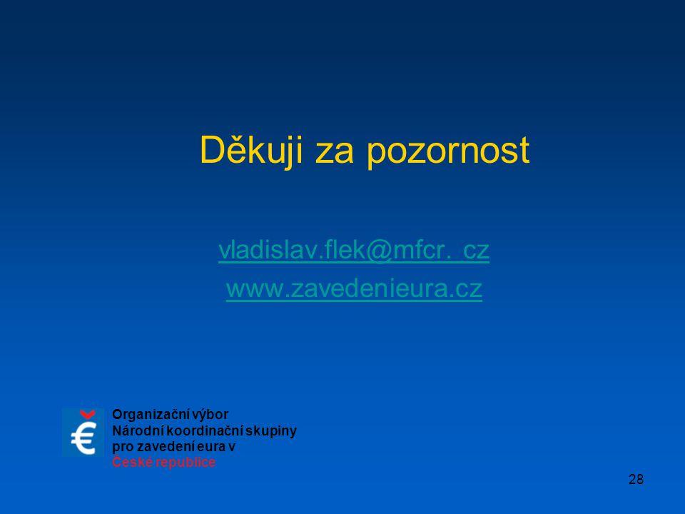 28 Děkuji za pozornost vladislav.flek@mfcr. czladislav.flek@mfcr www.zavedenieura.cz Organizační výbor Národní koordinační skupiny pro zavedení eura v