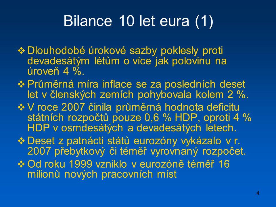 15 Ekonomická rizika  Ztráta samostatné kurzové a měnové politiky, která je ale relativizována  významem úrokového diferenciálu pro pohyb krátkodobého kapitálu  malí sousedé Německa již před vznikem eurozóny navázaly svoje měny na marku (Rakousko, Dánsko, Nizozemsko).
