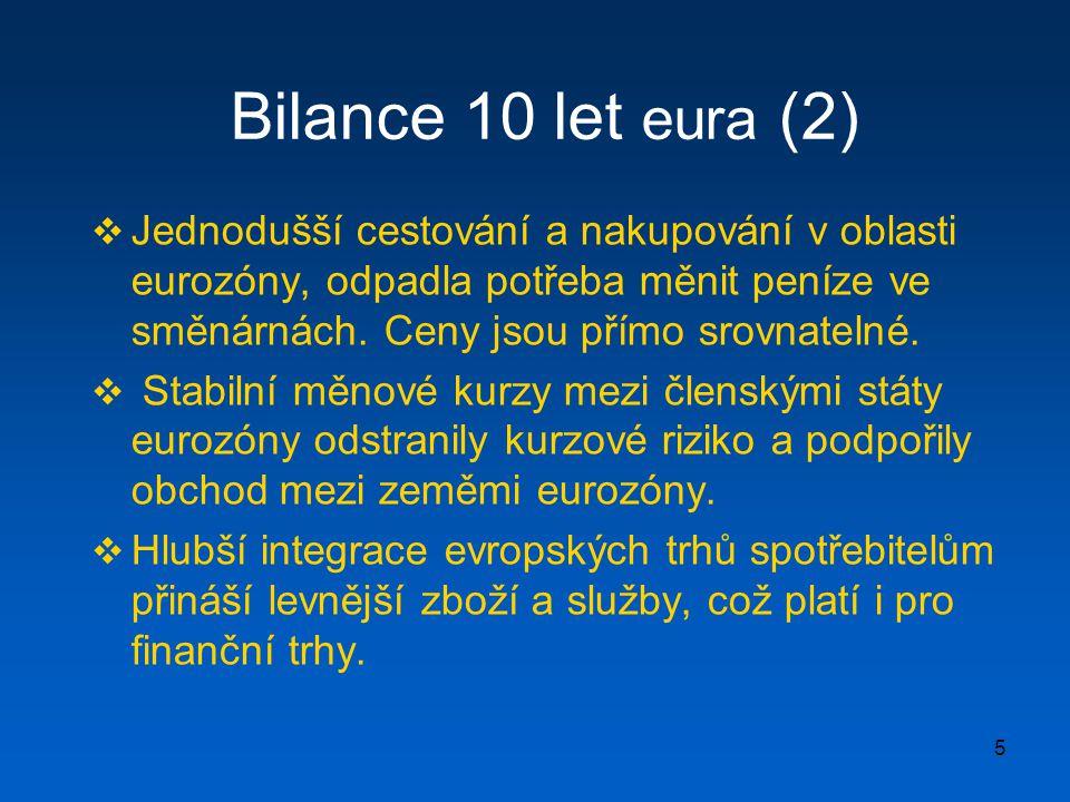 6 Bilance 10 let eura (3)  Euro je druhou nejatraktivnější měnou obchodovanou na světových peněžních trzích a obchody s eurem představují již více než jednu třetinu všech světových měnových transakcí.