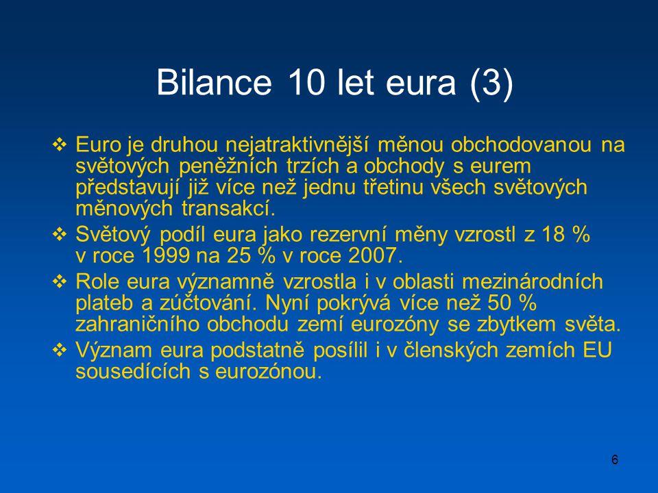 6 Bilance 10 let eura (3)  Euro je druhou nejatraktivnější měnou obchodovanou na světových peněžních trzích a obchody s eurem představují již více ne