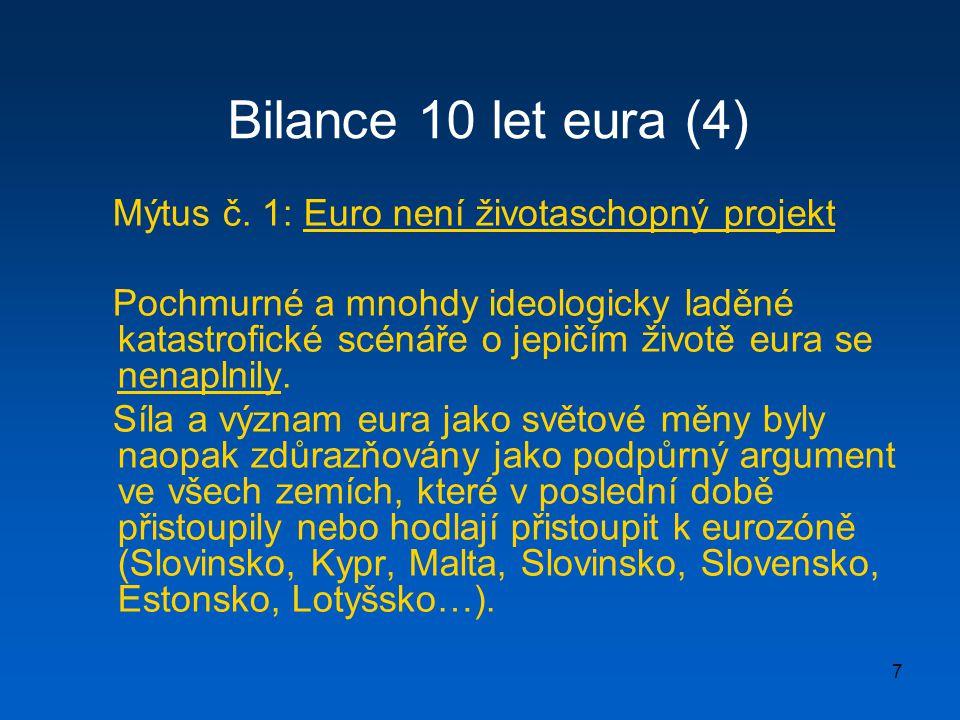 7 Bilance 10 let eura (4) Mýtus č. 1: Euro není životaschopný projekt Pochmurné a mnohdy ideologicky laděné katastrofické scénáře o jepičím životě eur
