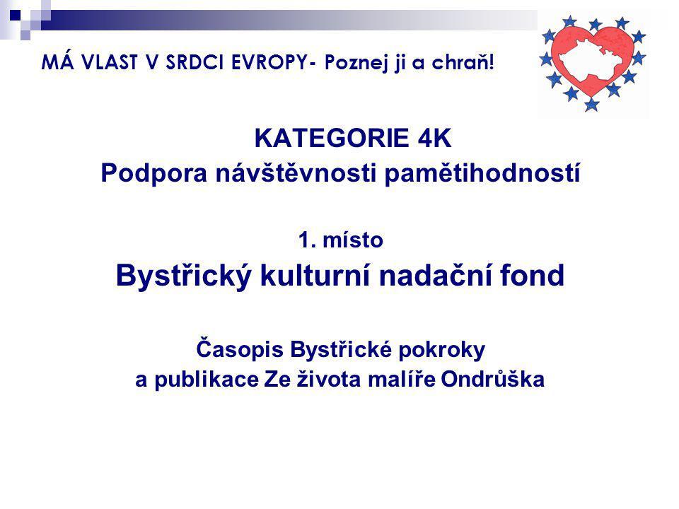 MÁ VLAST V SRDCI EVROPY- Poznej ji a chraň! KATEGORIE 4K Podpora návštěvnosti pamětihodností 1. místo Bystřický kulturní nadační fond Časopis Bystřick