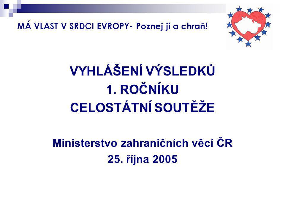 MÁ VLAST V SRDCI EVROPY- Poznej ji a chraň! VYHLÁŠENÍ VÝSLEDKŮ 1. ROČNÍKU CELOSTÁTNÍ SOUTĚŽE Ministerstvo zahraničních věcí ČR 25. října 2005