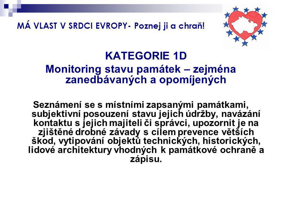 MÁ VLAST V SRDCI EVROPY- Poznej ji a chraň! KATEGORIE 1D Monitoring stavu památek – zejména zanedbávaných a opomíjených Seznámení se s místními zapsan
