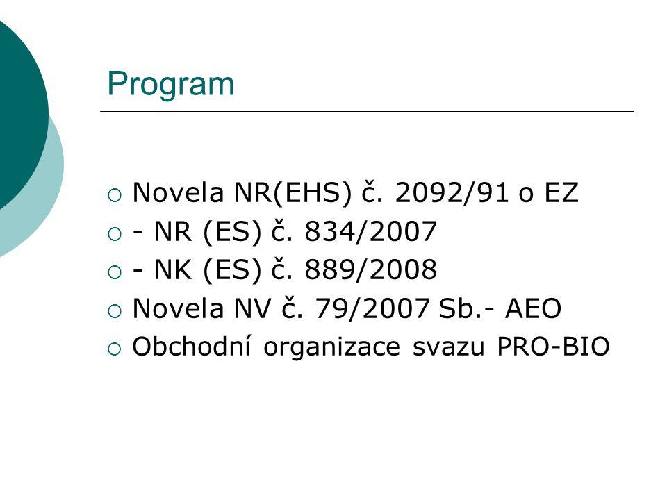 Program  Novela NR(EHS) č. 2092/91 o EZ  - NR (ES) č.