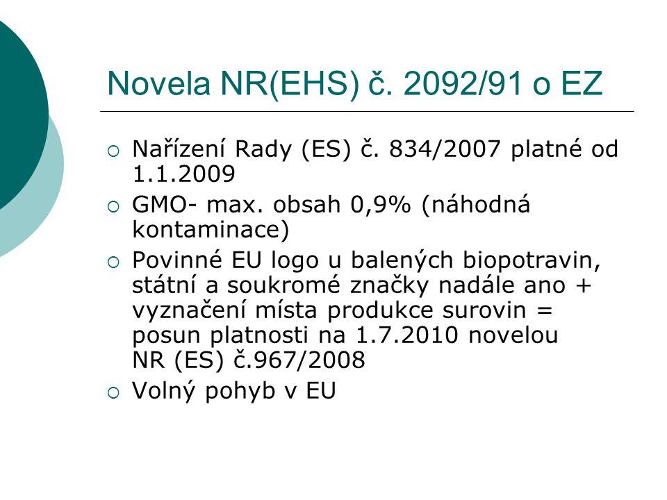 Novela NR(EHS) č. 2092/91 o EZ  Nařízení Rady (ES) č.