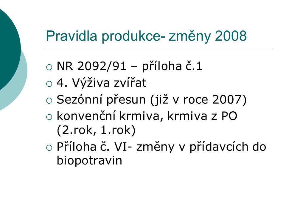 Pravidla produkce- změny 2008  NR 2092/91 – příloha č.1  4.