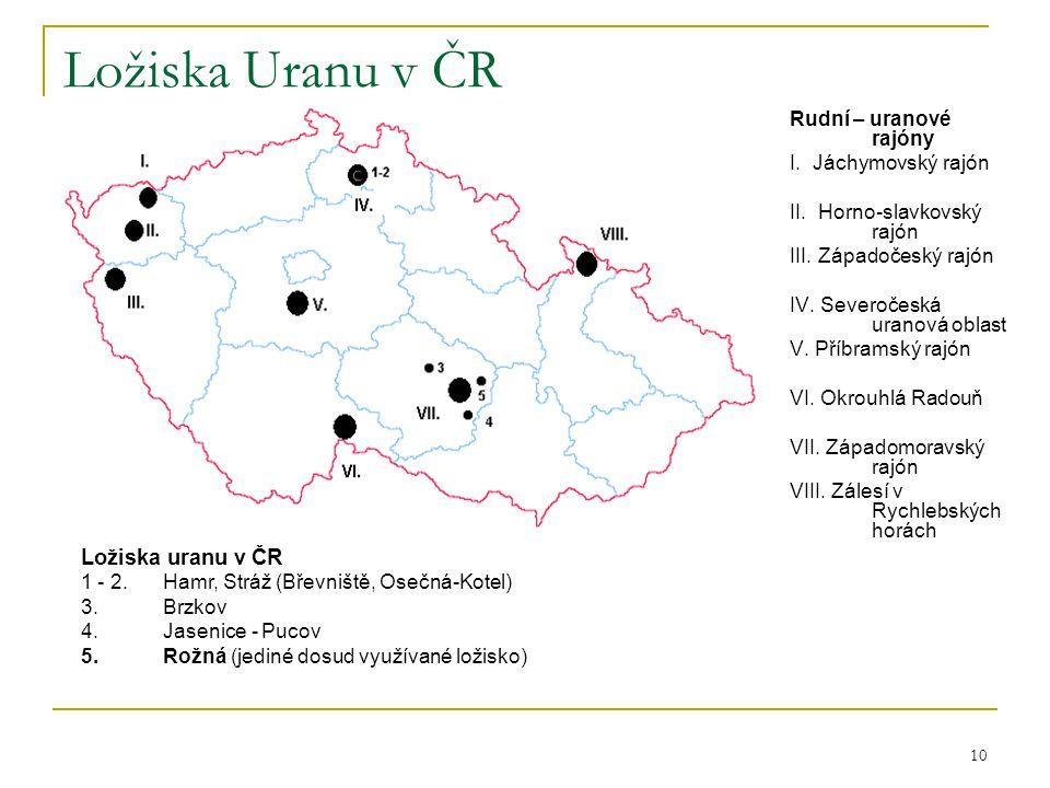 10 Ložiska Uranu v ČR Rudní – uranové rajóny I. Jáchymovský rajón II. Horno-slavkovský rajón III. Západočeský rajón IV. Severočeská uranová oblast V.