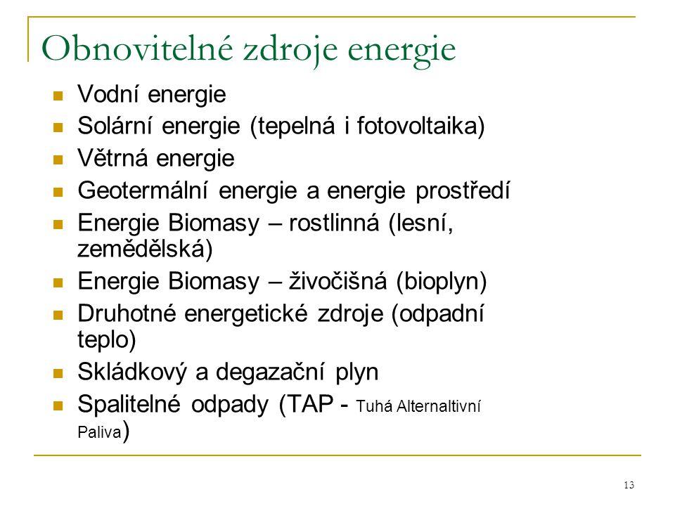 13 Obnovitelné zdroje energie  Vodní energie  Solární energie (tepelná i fotovoltaika)  Větrná energie  Geotermální energie a energie prostředí 