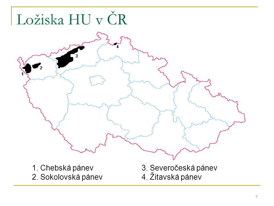 8 Zásoby HU v ČR  stav k 1.1.2008 v mil.tun ( v závorce je letošní upřesnění těžebních společností ) Ložiska HU v ČR (všechna) Zásoby geologické9 140 Ložiska využívaná Zásoby geologické2 316 Zásoby vytěžitelné933 (1061)