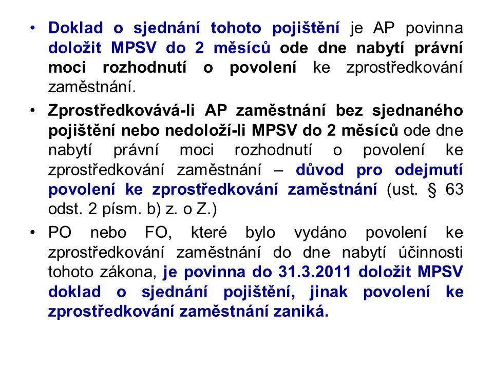 •Doklad o sjednání tohoto pojištění je AP povinna doložit MPSV do 2 měsíců ode dne nabytí právní moci rozhodnutí o povolení ke zprostředkování zaměstn