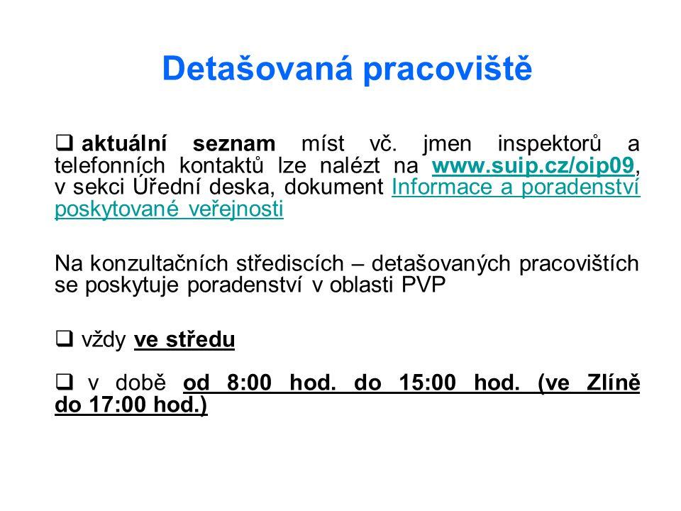 Detašovaná pracoviště  aktuální seznam míst vč. jmen inspektorů a telefonních kontaktů lze nalézt na www.suip.cz/oip09, v sekci Úřední deska, dokumen
