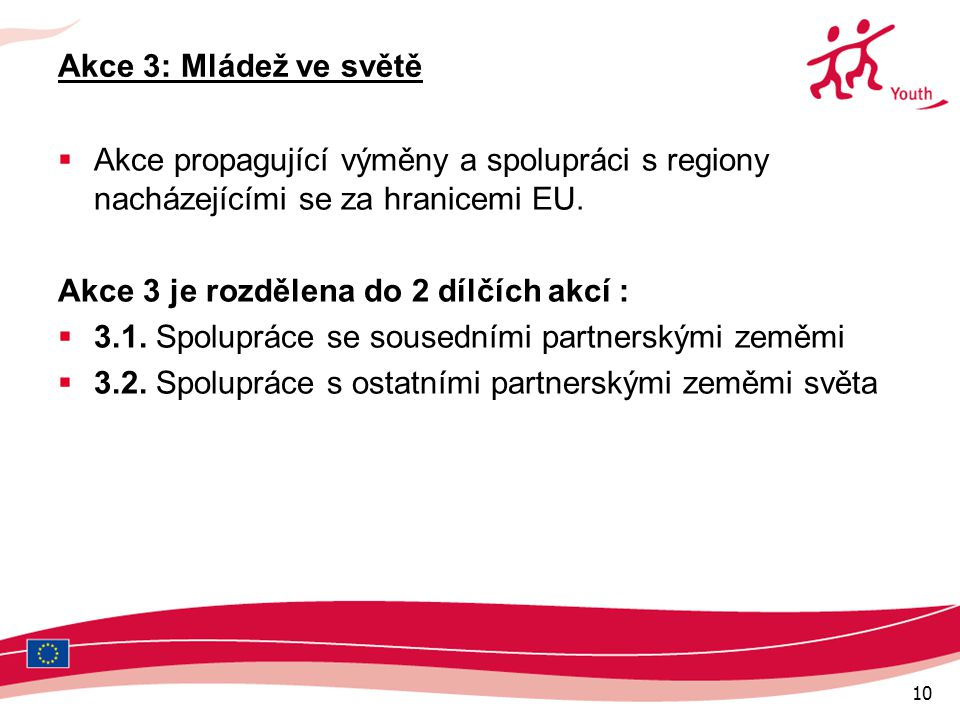 10 Akce 3: Mládež ve světě  Akce propagující výměny a spolupráci s regiony nacházejícími se za hranicemi EU.