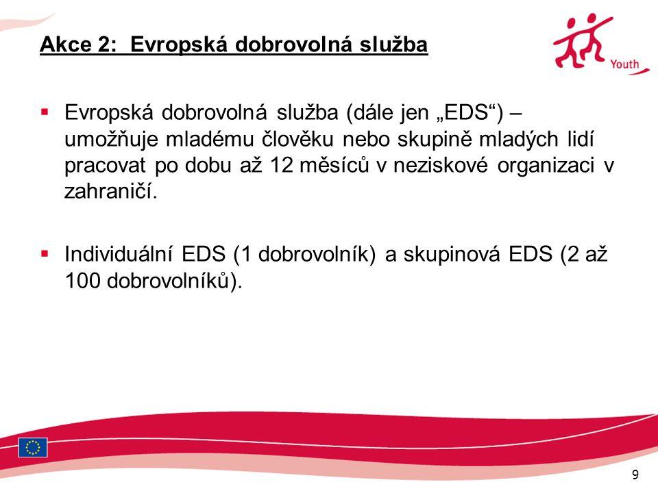 """9 Akce 2: Evropská dobrovolná služba  Evropská dobrovolná služba (dále jen """"EDS ) – umožňuje mladému člověku nebo skupině mladých lidí pracovat po dobu až 12 měsíců v neziskové organizaci v zahraničí."""