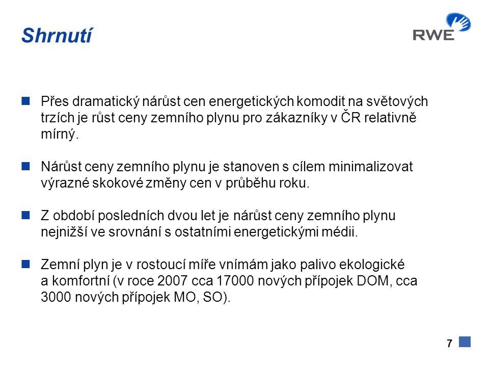 7 Shrnutí  Přes dramatický nárůst cen energetických komodit na světových trzích je růst ceny zemního plynu pro zákazníky v ČR relativně mírný.  Nárů