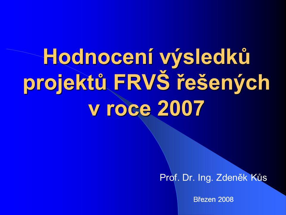 Hodnocení výsledků projektů FRVŠ řešených v roce 2007 Prof. Dr. Ing. Zdeněk Kůs Březen 2008