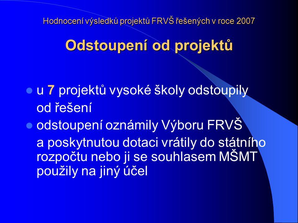 Hodnocení výsledků projektů FRVŠ řešených v roce 2007 Závěrečné oponentní řízení projektů řešených v roce 2007  proběhlo od 22.