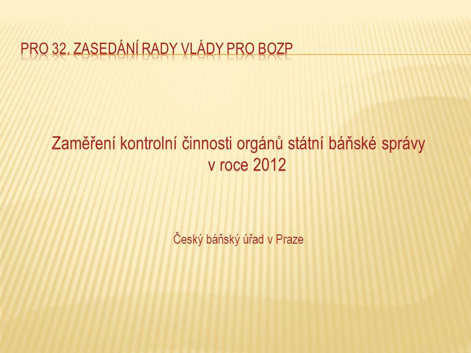 Zaměření kontrolní činnosti orgánů státní báňské správy v roce 2012 Český báňský úřad v Praze